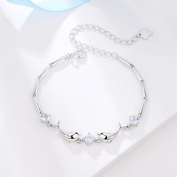 Cute Dolphin Bracelet For Womens In Sterling Silver