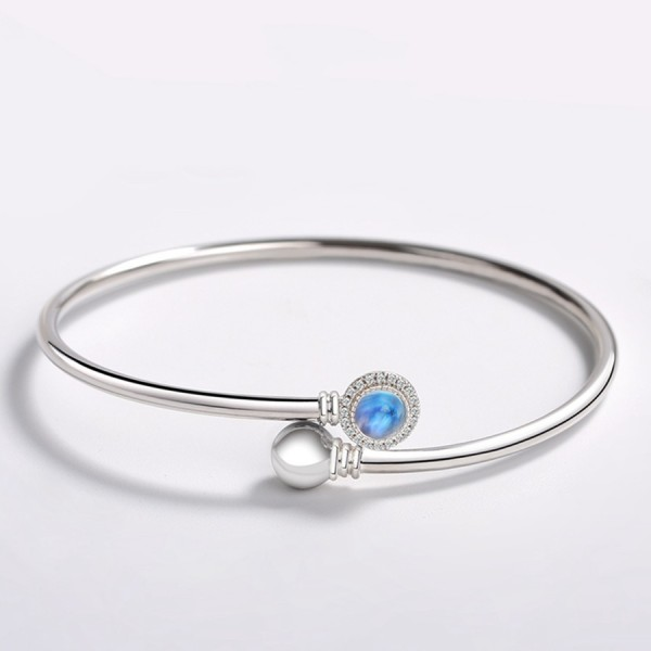 Unique Scepter Bangle Bracelet For Womens In Sterling Silver And Moonstone