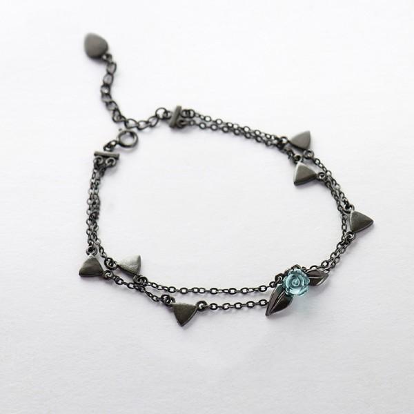 Unique Black Thorn Rose Bracelet For Womens In Sterling Silver
