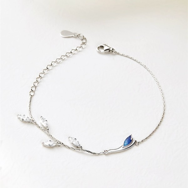 Personalized Breeze Blowing Willow Charm Bracelet For Womens In Sterling Silver