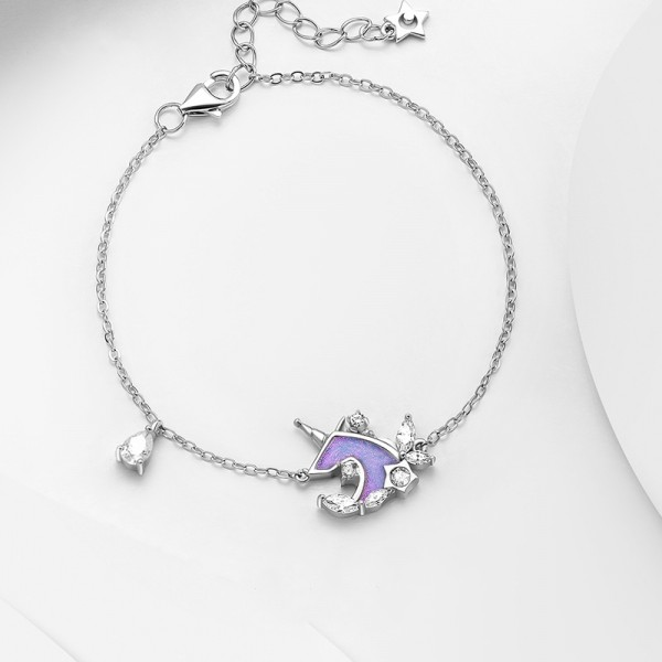 Cute Fantasy Unicorn Bracelet For Womens In Sterling Silver And Cubic Zirconia