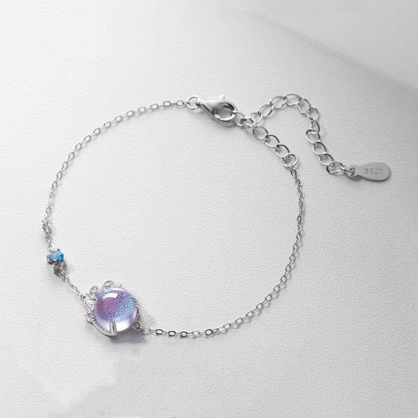 Unique Provence Lavender Charm Bracelet For Womens In Sterling Silver