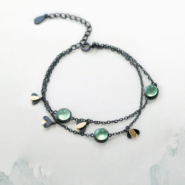 Unique Black Firefly Charm Bracelet For Womens In Sterling Silver