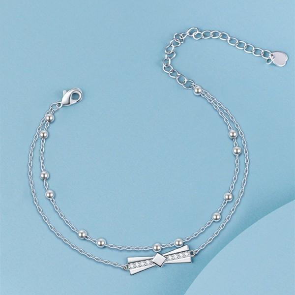 Cute Bow Tie Charm Bracelet For Womens