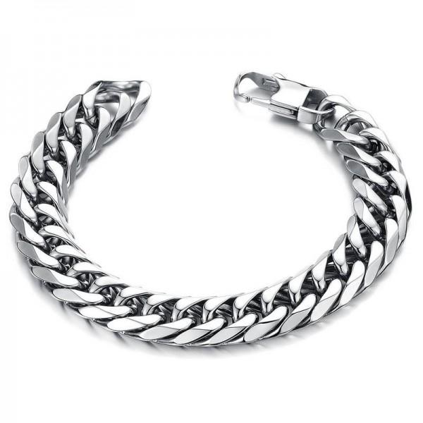 Simple Silver Chain Bracelet For Men In Titanium