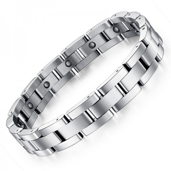 Simple Silver Magnetic Bracelet For Men In Titanium