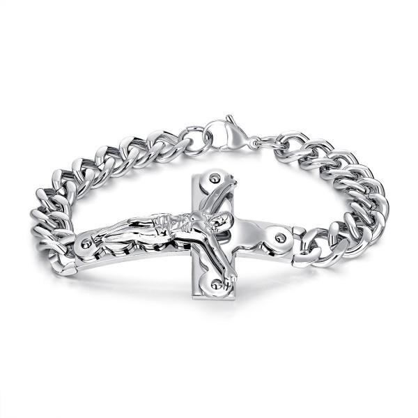 Engravable Good Friday Cross Bracelet For Men In Titanium