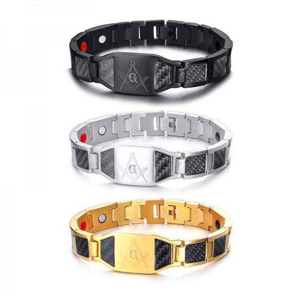 Engravable Freemasonry Magnetic Bracelet For Men In Titanium