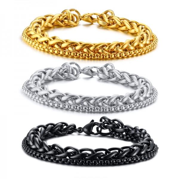 Unique Double Chain Bracelet For Men In Titanium
