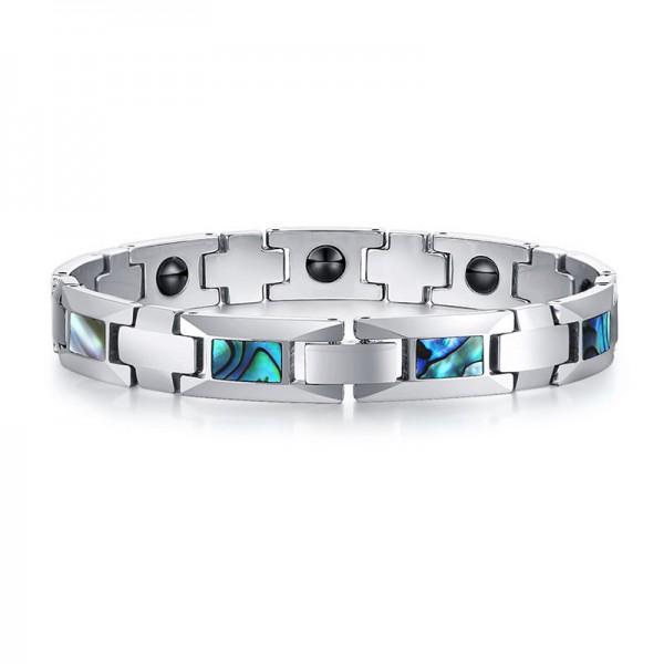 Unique Shell Magnetic Bracelet For Men In Tungsten