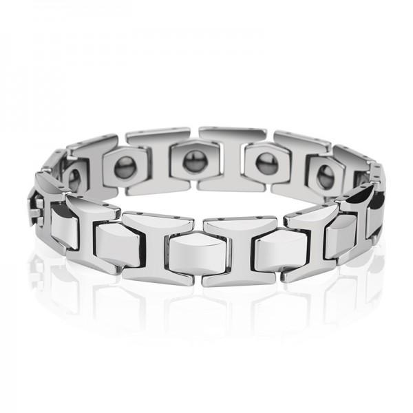Unique Silver Strap Magnetic Bracelet For Men In Tungsten