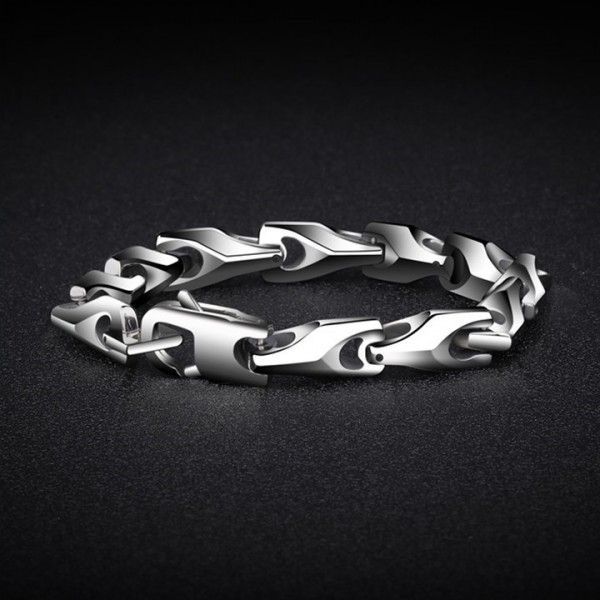 Engravable Simple Silver Chain Bracelet For Men In Tungsten