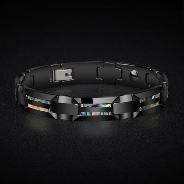 Engravable Shell Magnetic Bracelet For Men In Tungsten