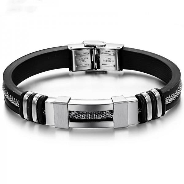 Engravable Simple Belt Bracelet For Men In Silicone And Titanium