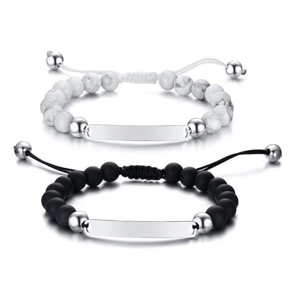 Engravable Beaded Charm Bracelet For Men