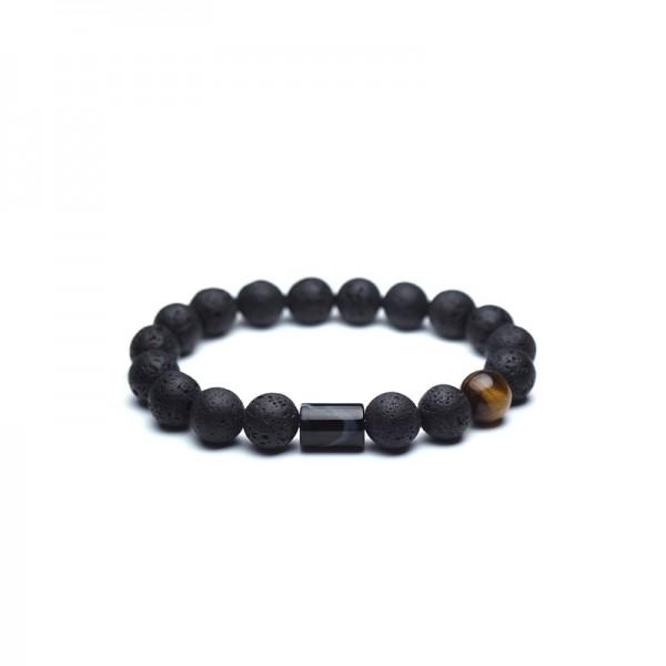Unique Black Lava Bead Bracelet For Men