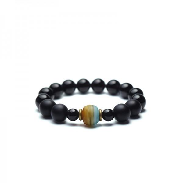 Unique Black Onyx Bead Bracelet For Men