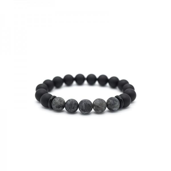 Unique Black Flash Bead Bracelet For Men