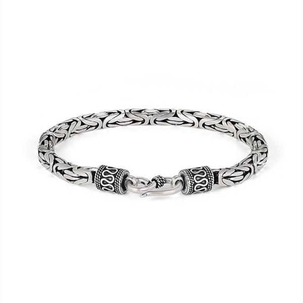 Unique Snake Chain Bracelet For Men In Sterling Silver