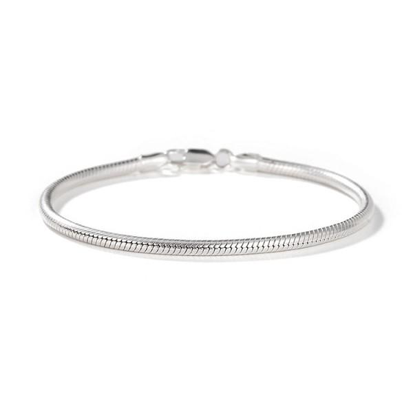 Engravable Snake Chain Bracelet For Men In Sterling Silver