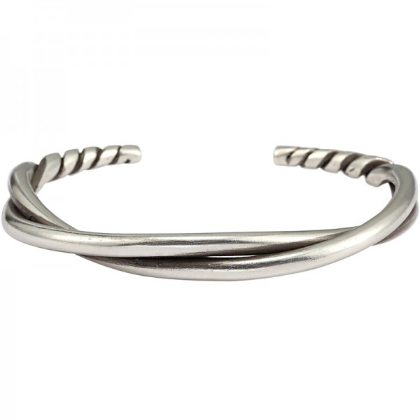 Unique Infinity Knot Bangle For Men In Sterling Silver