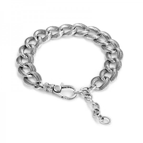Personalized Feather Chain Bracelet For Men In Sterling Silver