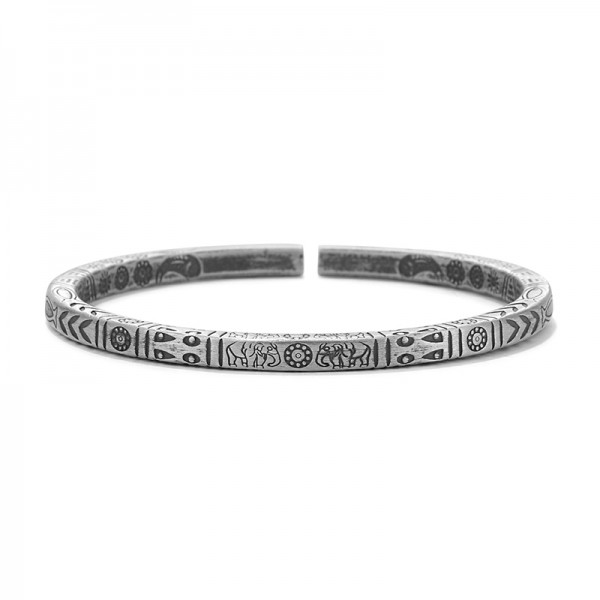 Personalized Totem Bangle Bracelet For Men In Sterling Silver