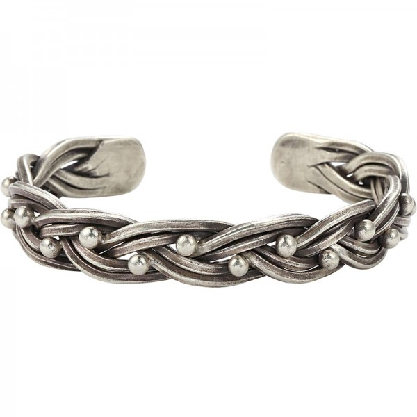 Engravable Distressed Knot Bangle For Men In Sterling Silver