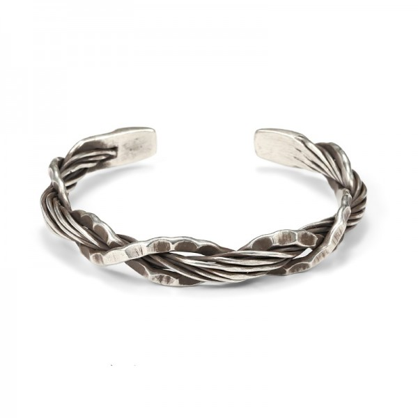 Engravable Distressed Footprint Knot Bangle For Men In Sterling Silver