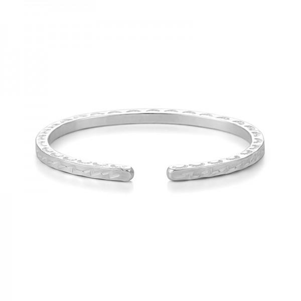 Engravable White Lightning Bangle For Men In Sterling Silver