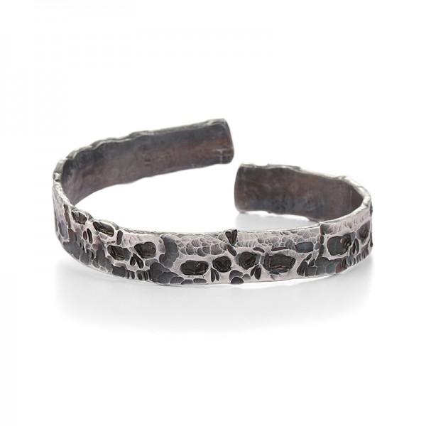 Unique Distressed Skull Bangle Bracelet For Men In Sterling Silver