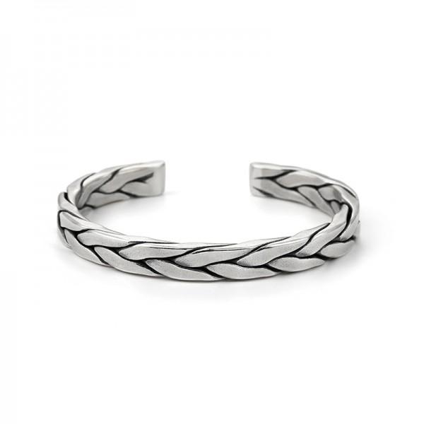 Unique Vein Bangle Bracelet For Men In Sterling Silver