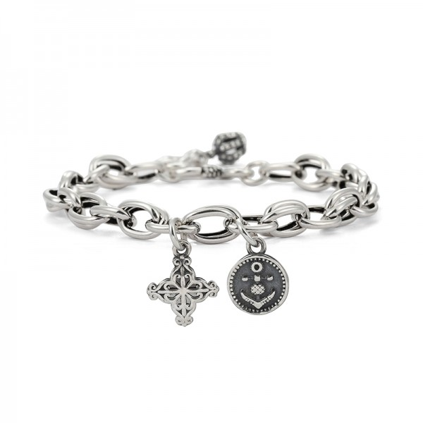 Unique Distressed Anchor Chain Bracelet For Men In Sterling Silver