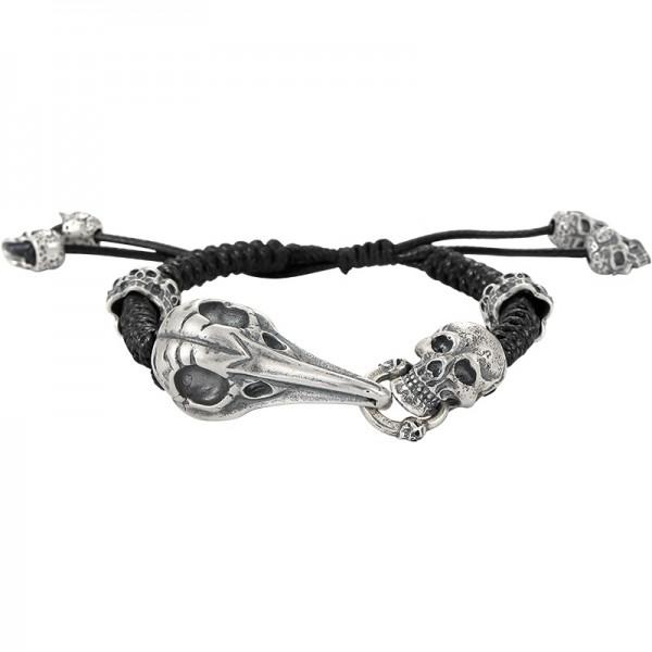 Unique Death Skeleton Charm Bracelet For Men In Sterling Silver