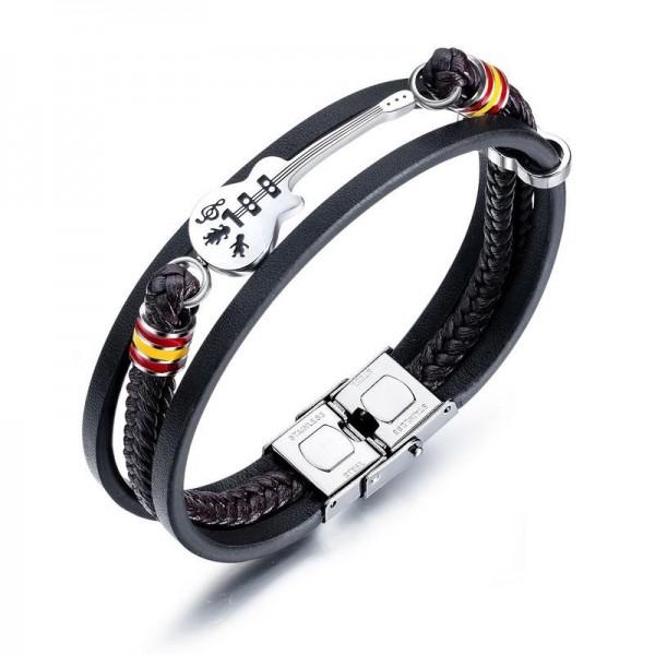 Engravable Guitar Charm Three Strand Leather Bracelet For Men
