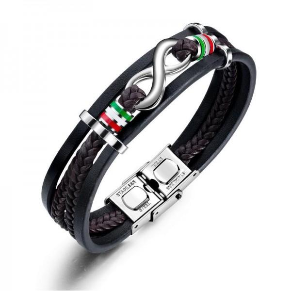 Personalized Infinity Charm Three Strand Leather Belt Bracelet For Men