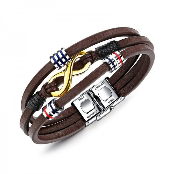 Infinity Charm 3 Strand Leather Belt Bracelet For Men
