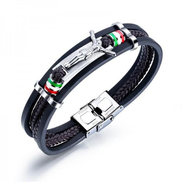 Unique Good Friday Charm 4 Strand Leather Belt Bracelet For Men