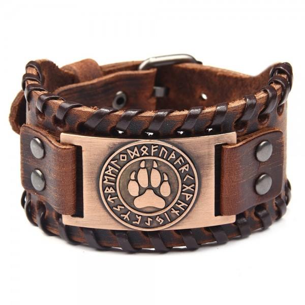 Unique Bear Claw Charm Cowhide Belt Bracelet For Men