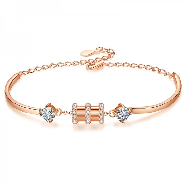 Cute Rose Charm Bracelet For Womens In Sterling Silver And Cubic Zirconia