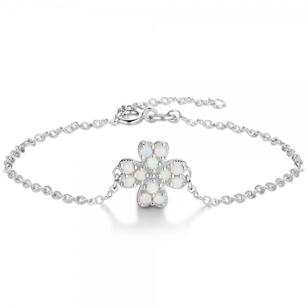 Unique Four Leaf Clover Charm Opal Bracelet For Womens In Sterling Silver