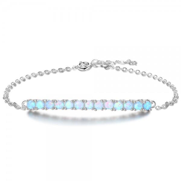 Unique Swing Charm Opal Bracelet For Womens In Sterling Silver