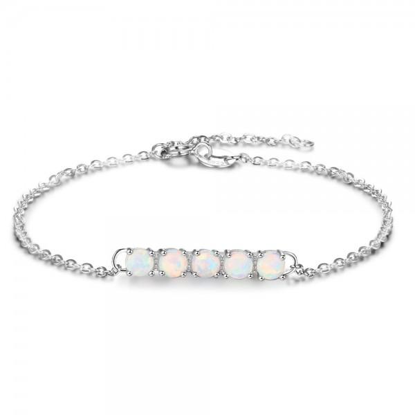 Swing Charm Opal Bracelet For Womens In 925 Sterling Silver
