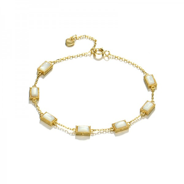 Simple Shell Charm Bracelet For Womens In Sterling Silver