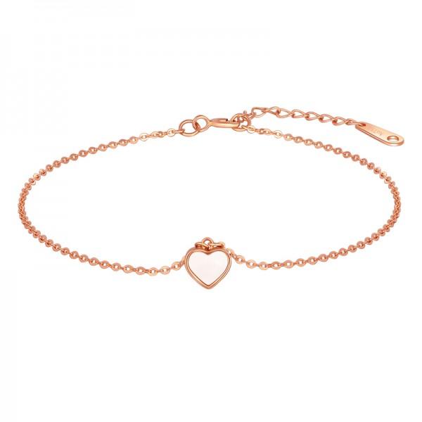 Unique Rose Heart Charm Bracelet For Women In 18K Gold