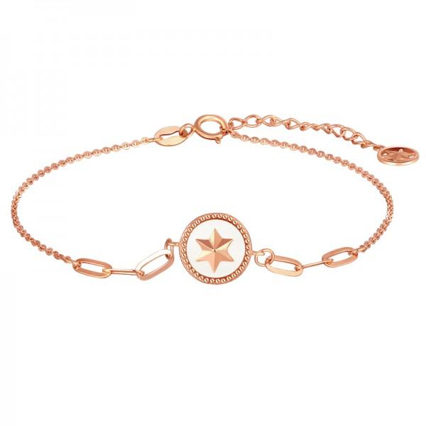 Unique Rose Star Charm Bracelet For Womens In 18K Gold