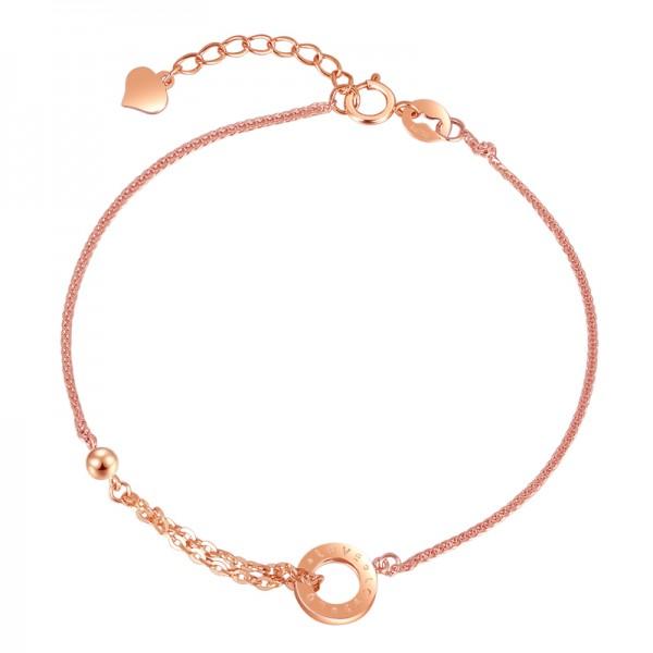 Unique Rose Love Charm Bracelet For Womens In 18K Gold