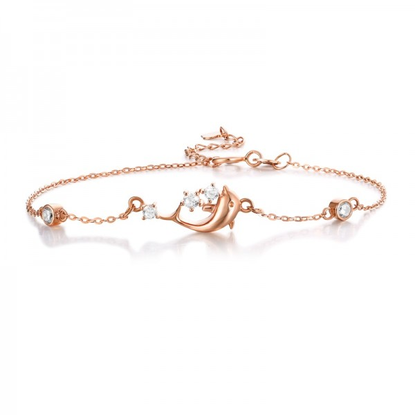 Unique Rose Dolphin Charm Bracelet For Women In 18K Gold