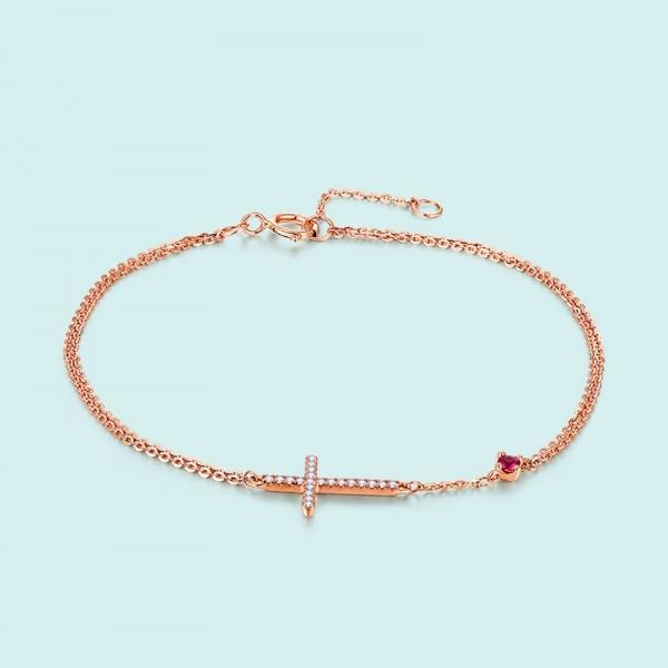 Unique Rose Cross Ruby birthstone Bracelet For Women In 18K Gold