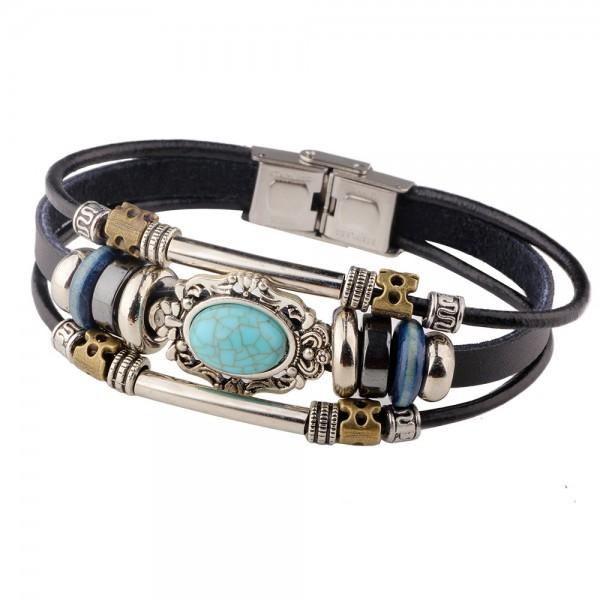 Unique 3 Strand Leather Bracelet For Women
